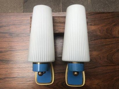PAIR OF WALL SCONCES  BLUE BRASS