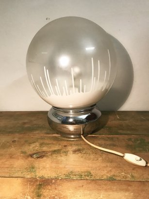 TABLE LAMP  WITH BALL SATIN GLASS LAMPSHADE