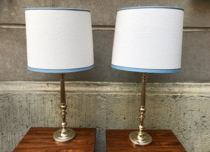 PAIR OF SILVERY TABLE LAMPS