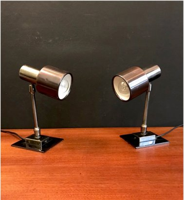 BURNISHED METAL TABLE  SPOTLIGHTS