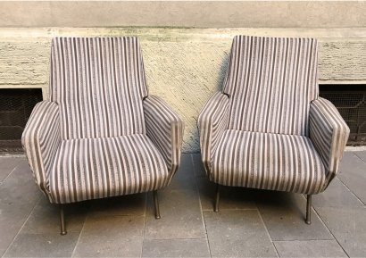 PAIR OF STRIPED FABRIC ARMCHAIRS