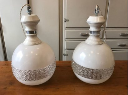 PAIR OF PENDANT LAMPS OPAL WITH GLASS DIFFUSER